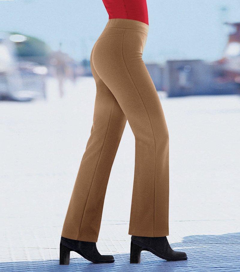 Pantalón largo mujer de punto milano - Beige