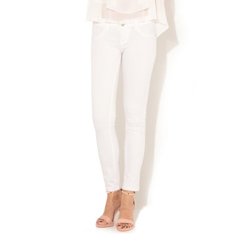 Pantalón vaquero jeans elástico corte pitillo - Blanco