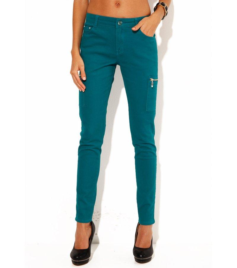 Pantalón largo mujer elástico multibolsillos - Verde