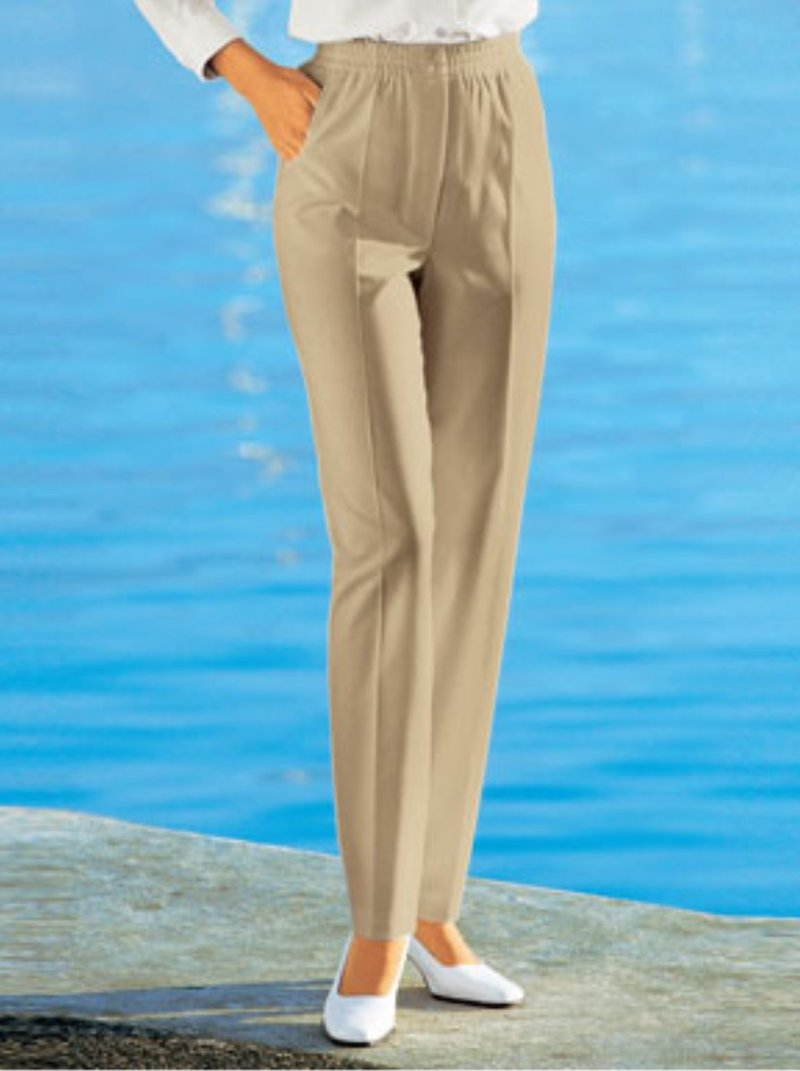 Pantalón largo mujer recto tiro alto elástico
