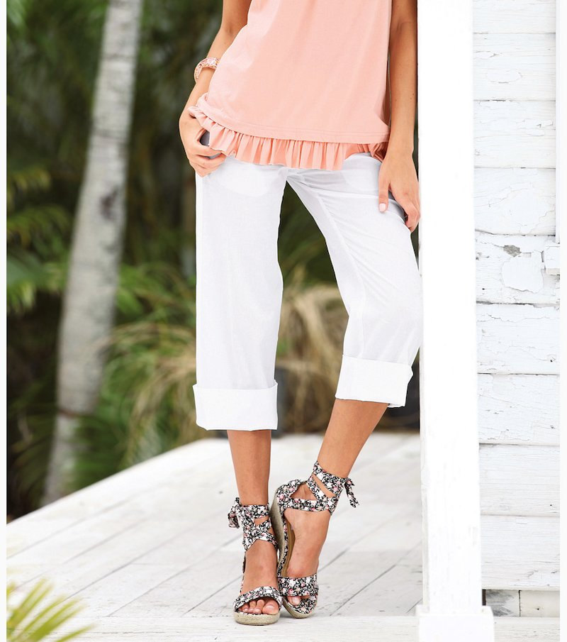 Pantalón pirata mujer 100% algodón - Blanco