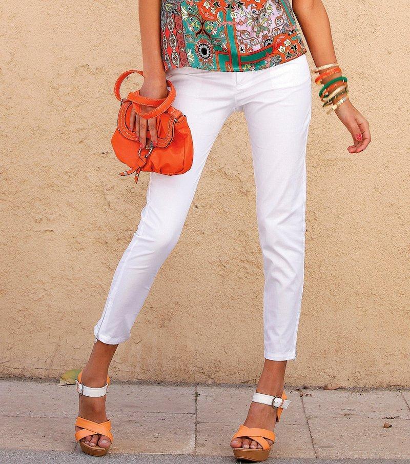 Pantalón tobillero mujer elástico tiro medio - Blanco