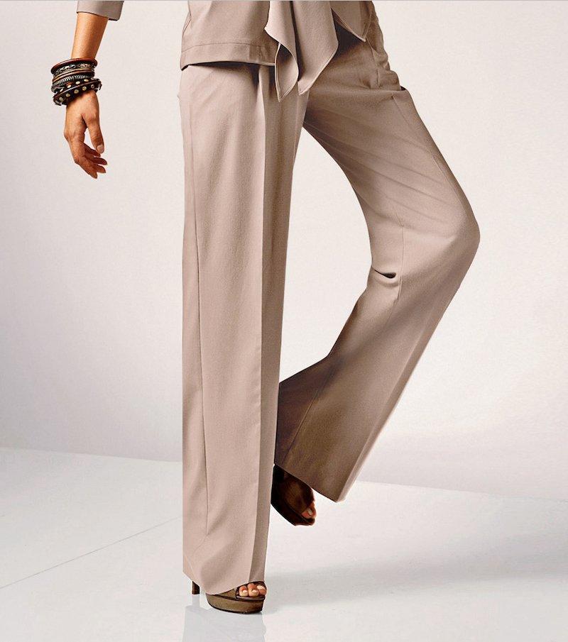 Pantalón largo de mujer tiro alto - Beige
