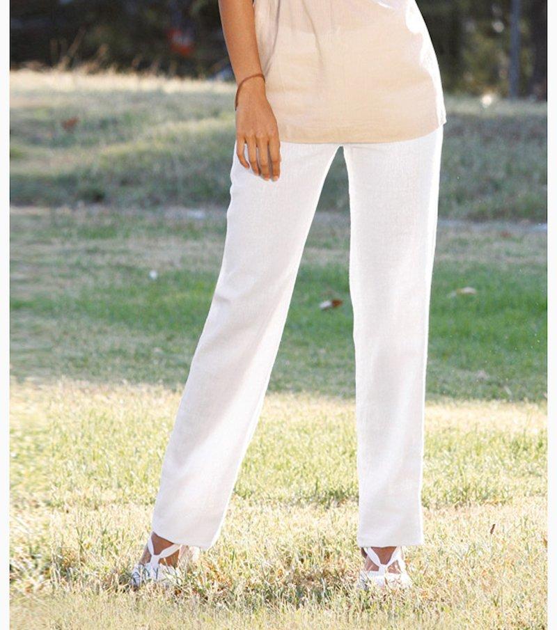 Pantalón largo mujer lino y viscosa - Blanco