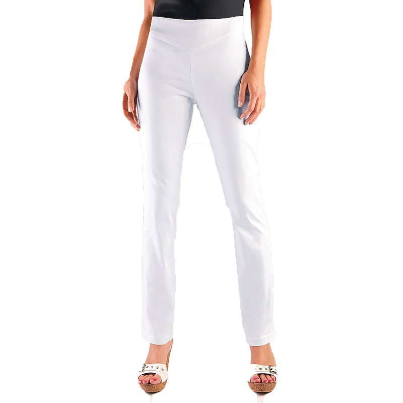 Pantalón largo mujer elástico vientre plano - Beige