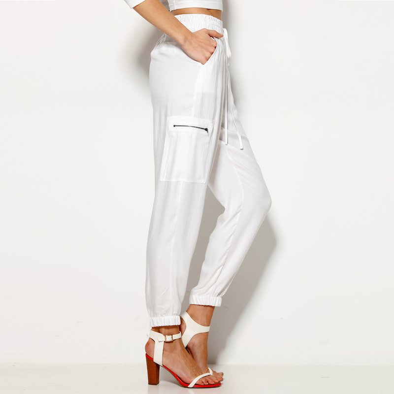 Pantalón mujer con cintura y bajo elásticos