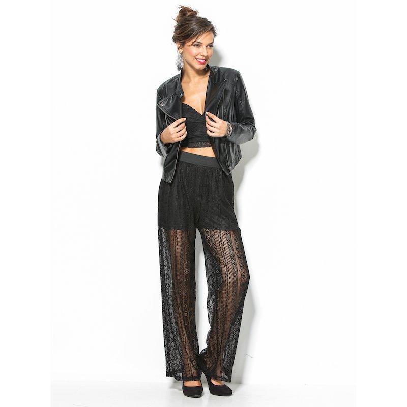 Pantalón largo mujer de blonda negro