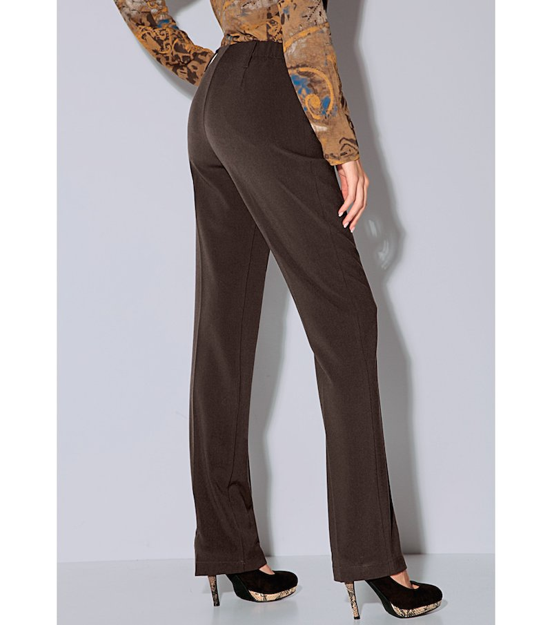 Pantalón largo mujer tiro alto - Marrón