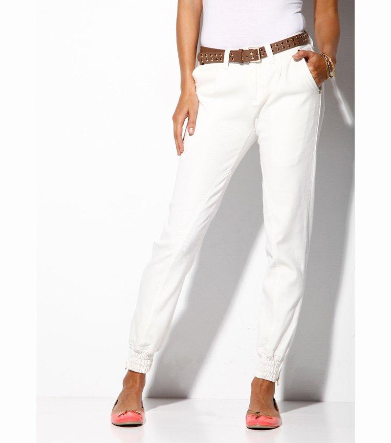 Pantalón largo mujer tiro medio con puño elástico - Beige