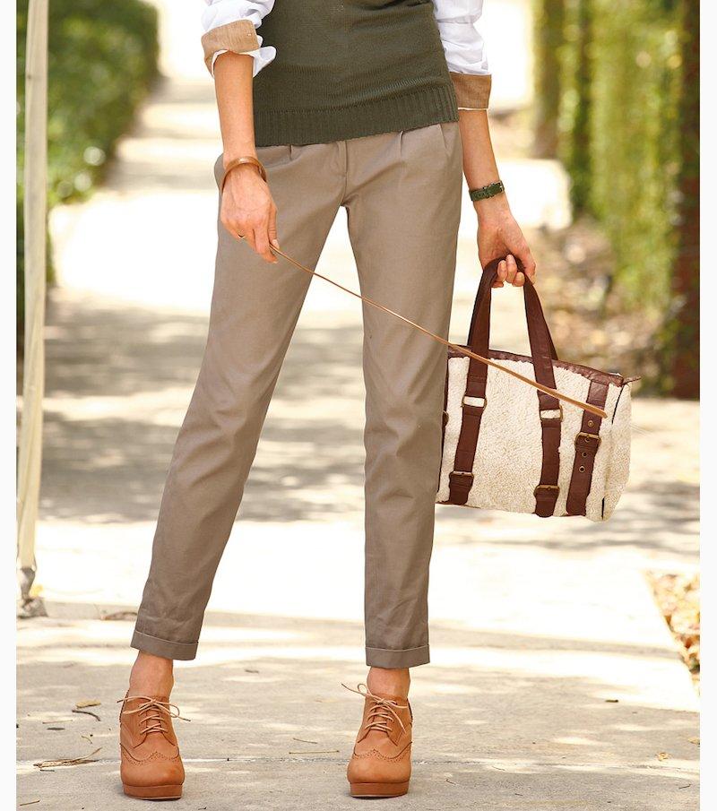 Pantalón largo mujer con pinzas sarga 100% algodón - Beige