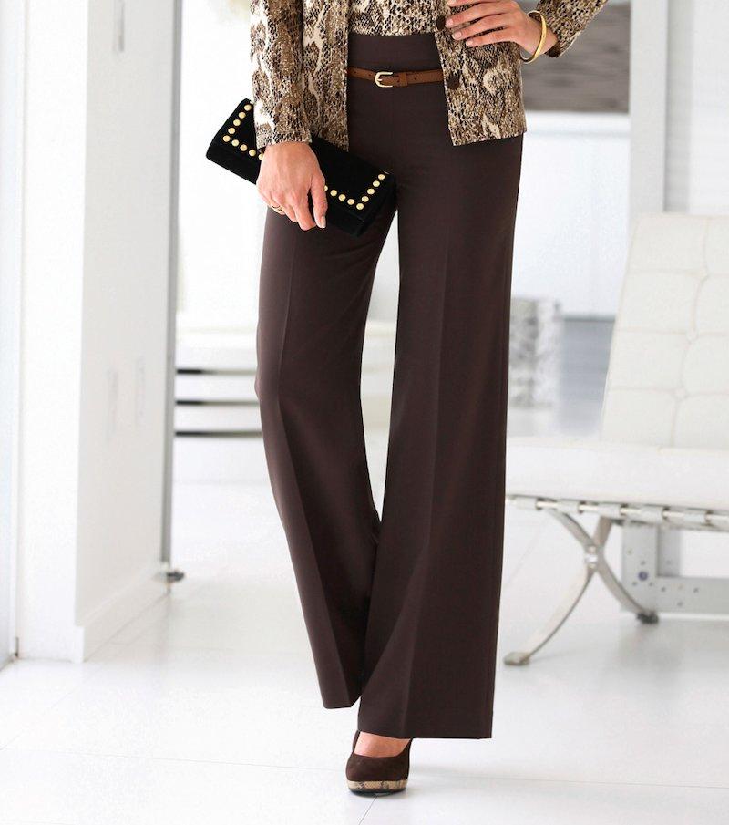 Pantalón largo de vestir mujer tiro alto - Marrón
