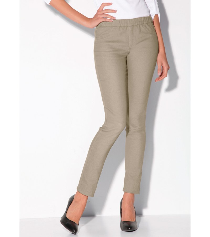 Pantalón largo mujer tiro alto twill elástico - Beige