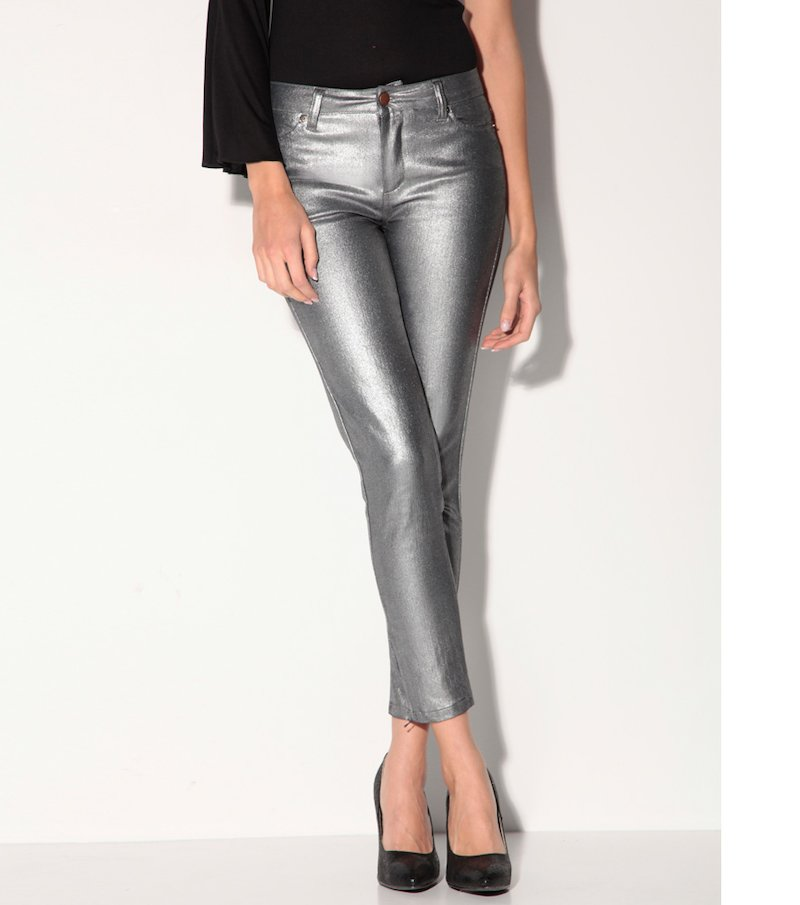 Pantalón de fiesta tobillero mujer metalizado