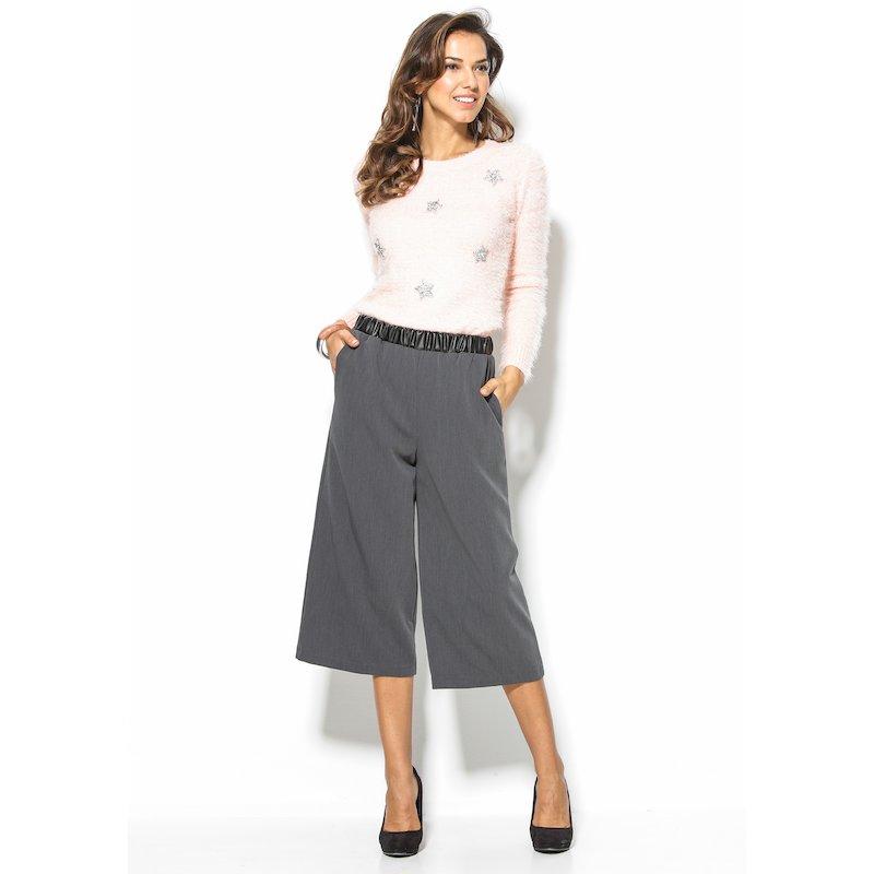 Pantalón ancho culotte mujer cintura símil piel