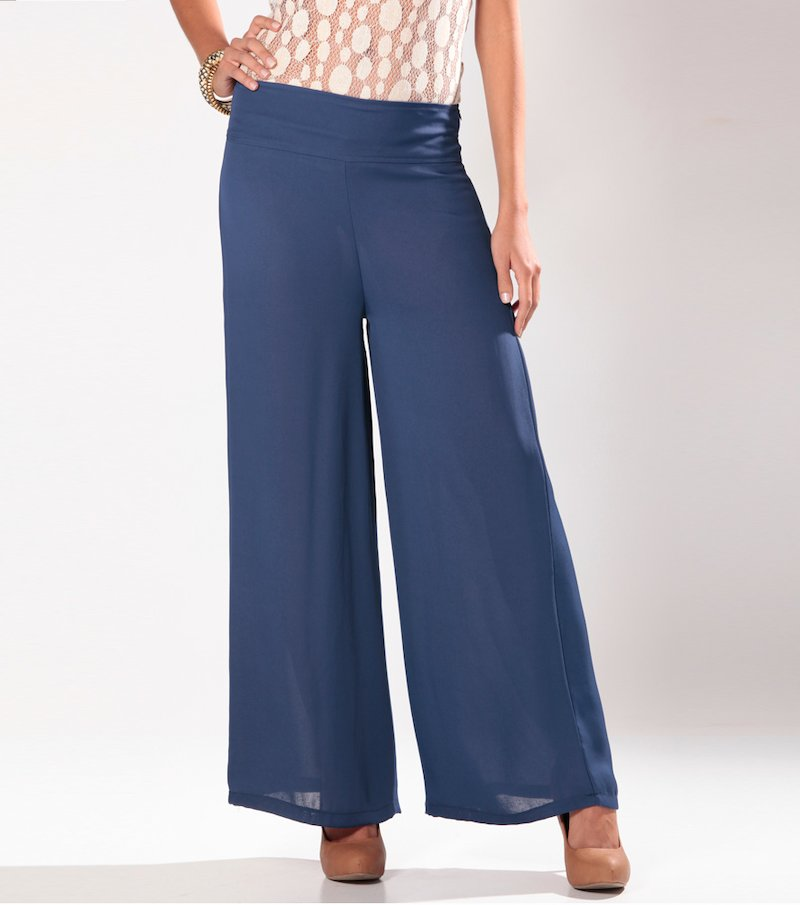 Pantalón largo mujer corte recto - Azul