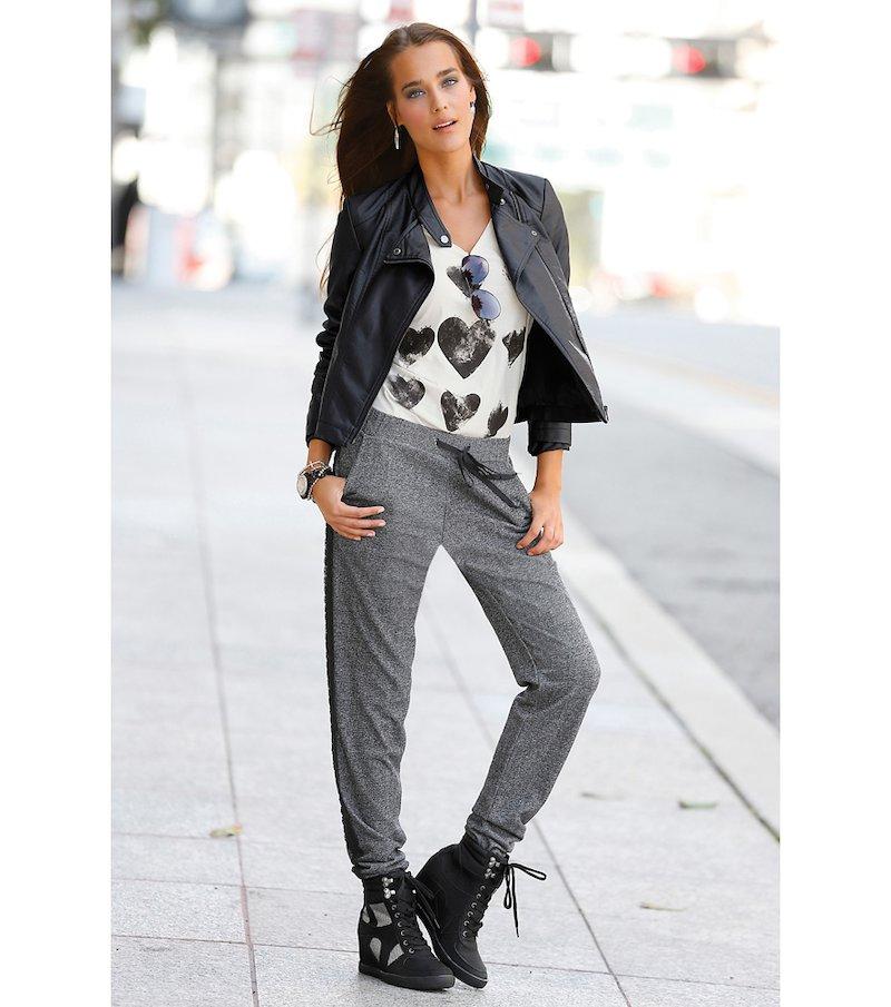Pantalón largo mujer de felpa con puntilla