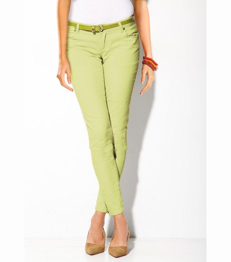 Pantalón largo mujer con cremalleras elástic - Amarillo