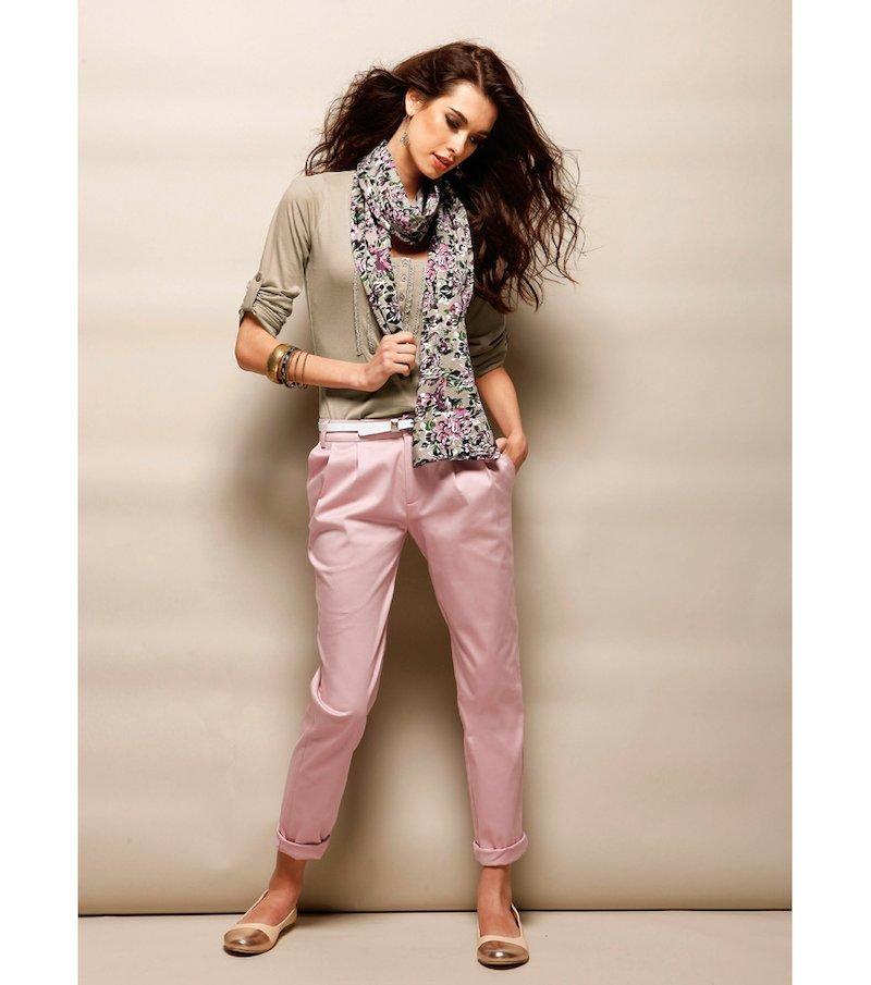 Pantalón largo mujer satinado elástico - Rosa