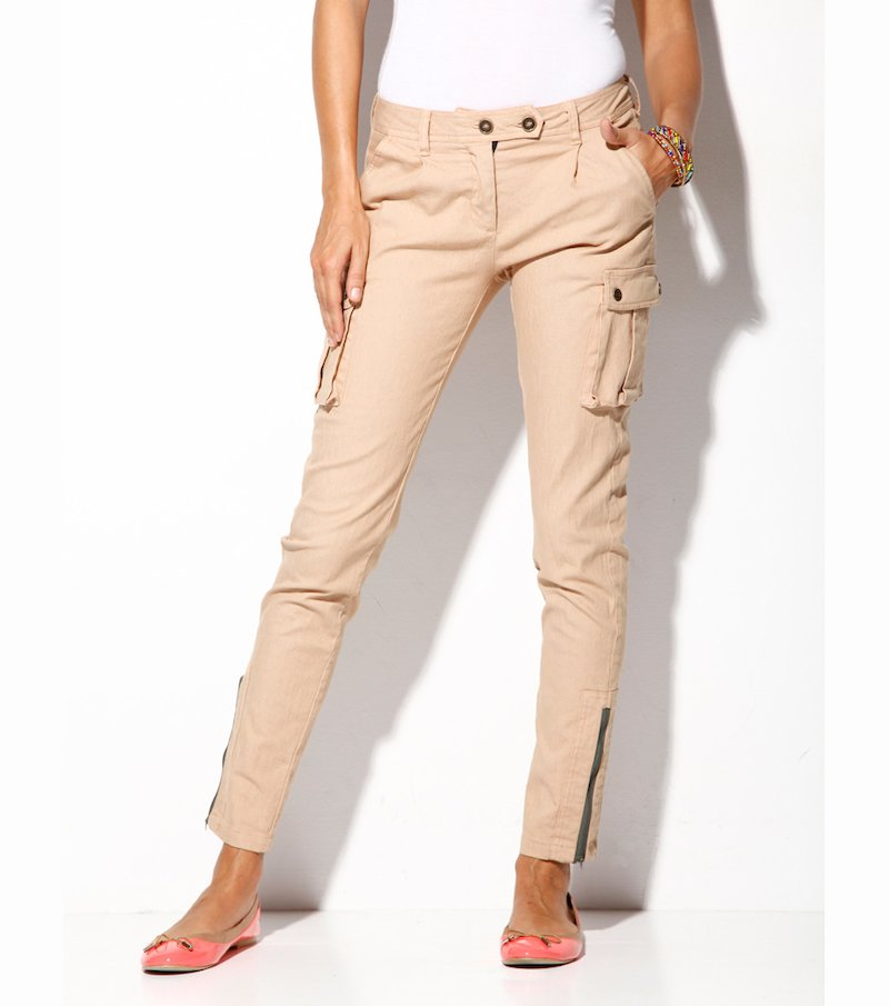 Pantalón largo mujer de sarga elástico