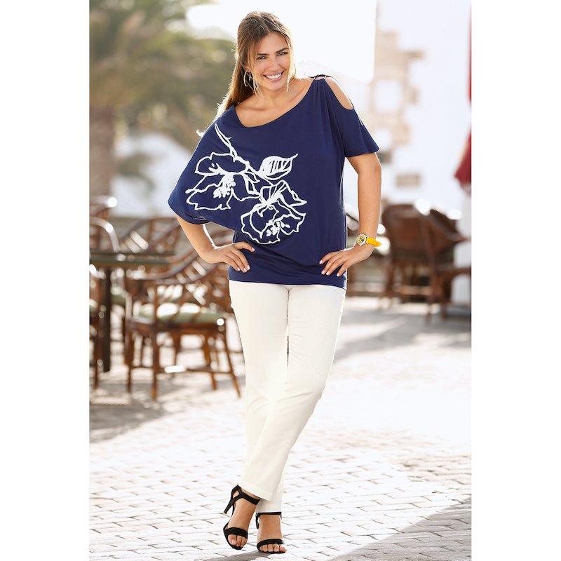 Pantalón largo mujer vientre plano tiro alto - Crudo