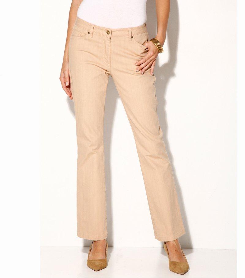 Pantalón largo mujer tiro alto twill elástico