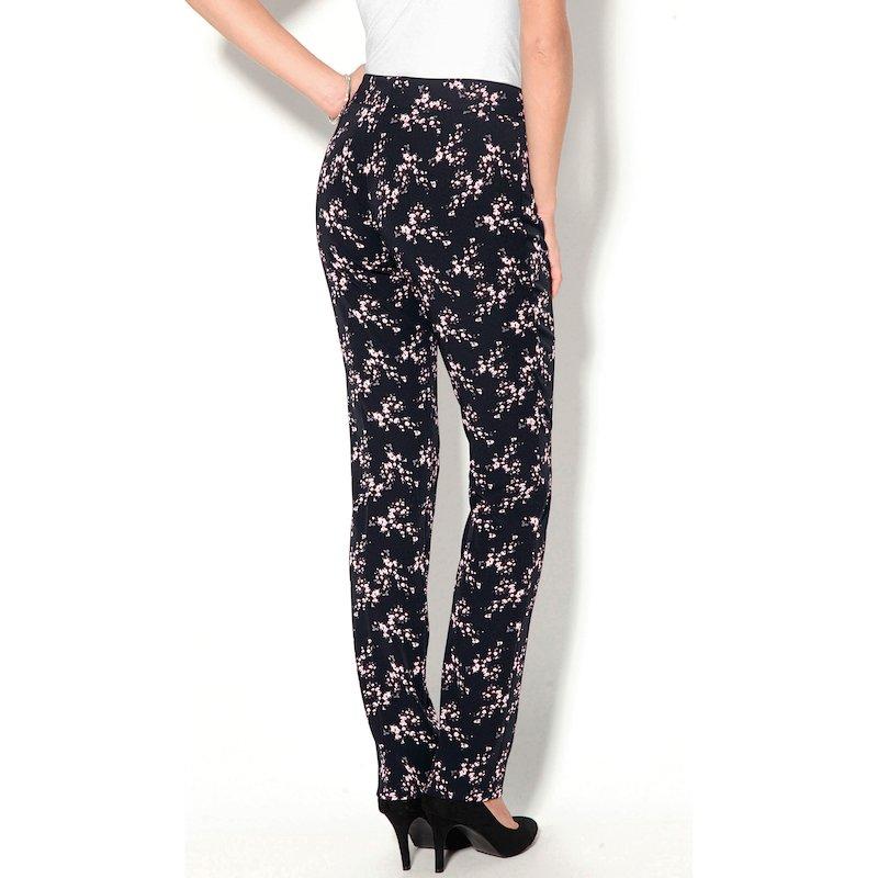 Pantalón largo con estampado de flores mujer - Negro