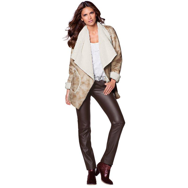 Pantalón largo simil piel mujer de tiro medio