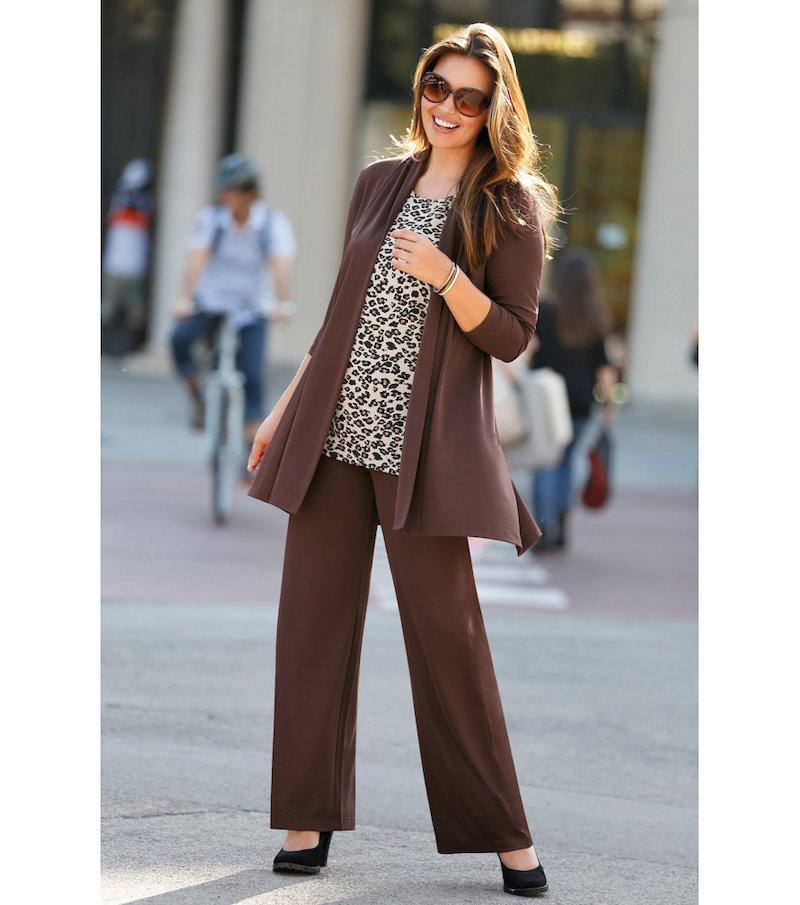 Pantalón largo mujer corte recto punto