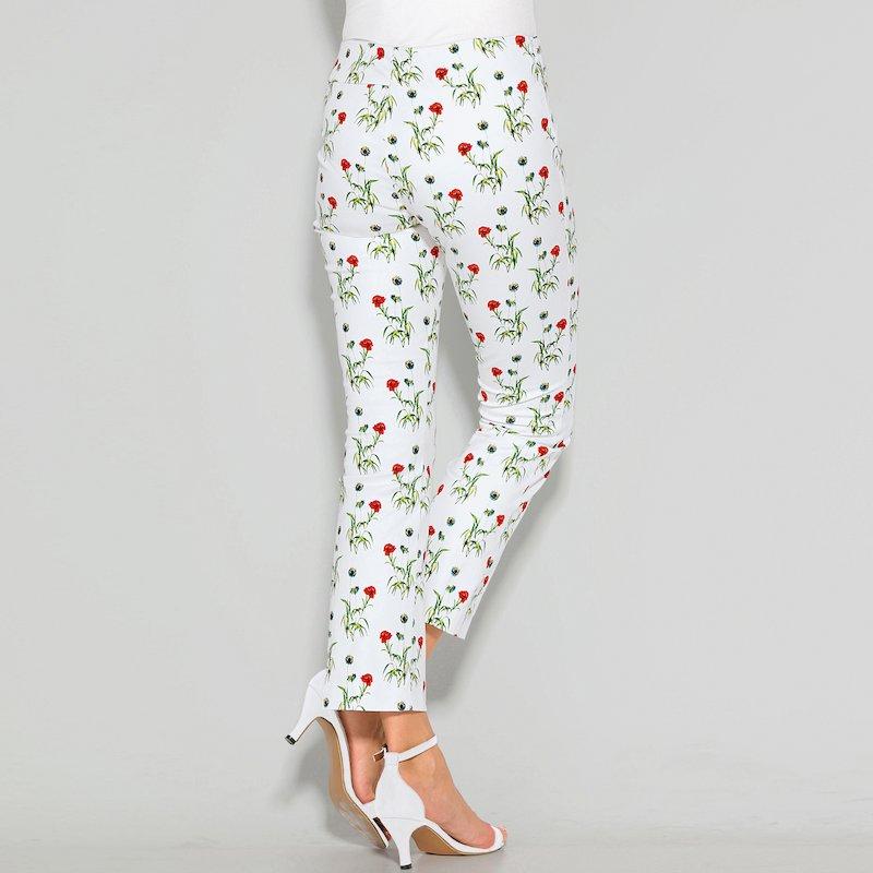 Pantalón largo de mujer tiro alto de flores