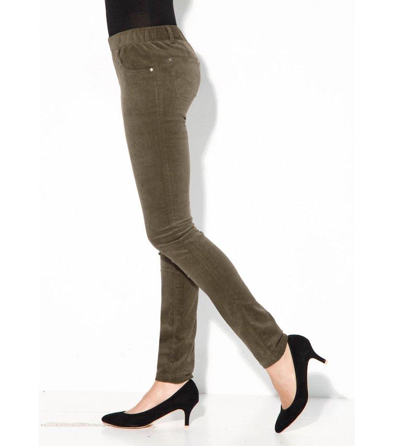 Pantalón largo mujer pitillo pana elástica