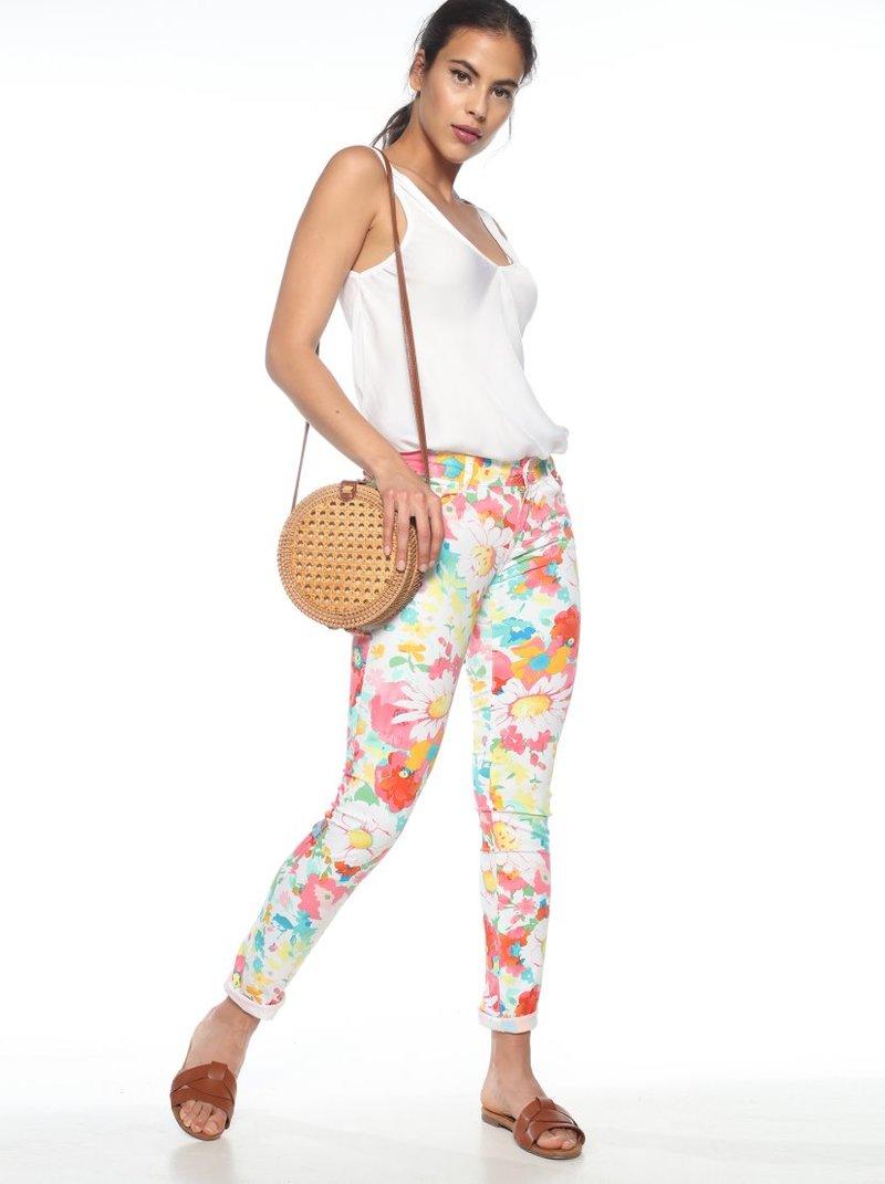 Pantalón 5 bolsillos flores