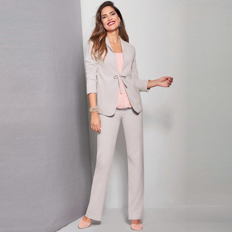 Pantalón tiro alto elástico con pinzas mujer - Gris