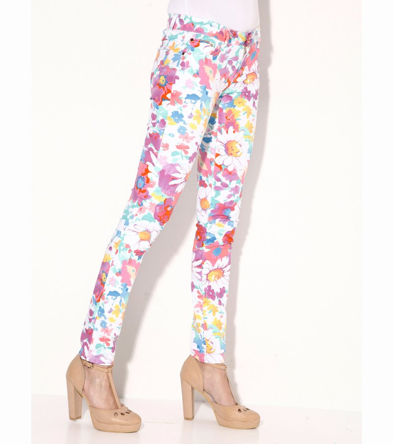 Pantalón largo mujer elástico flores lila