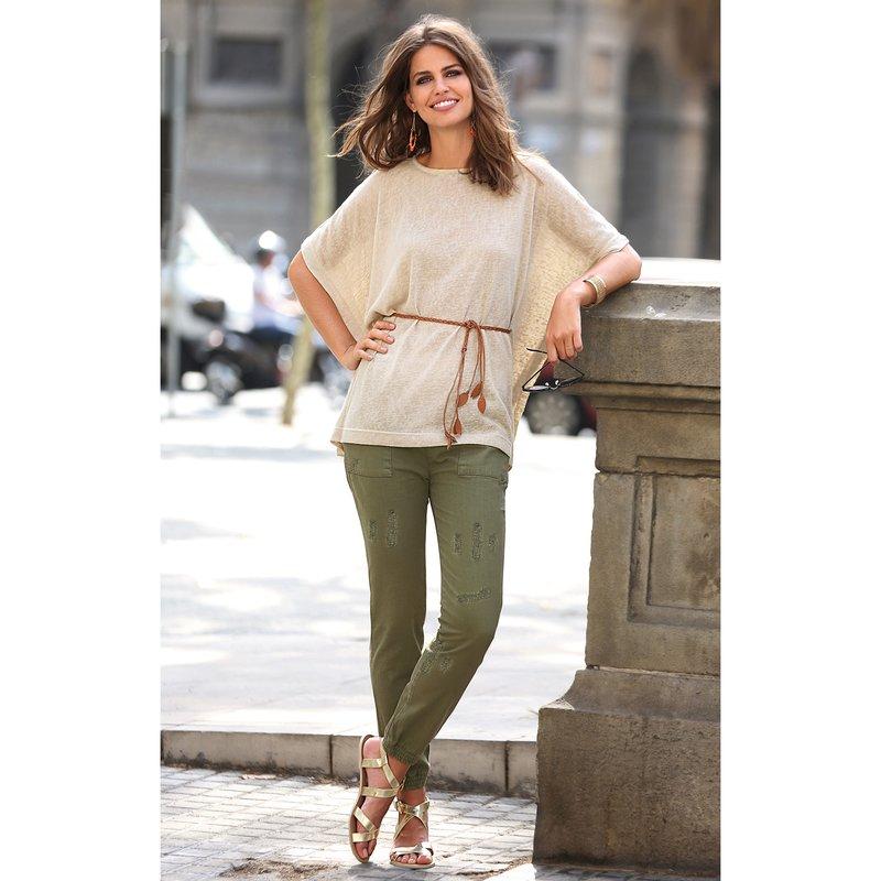 Pantalón largo mujer con cintura y bajo elásticos - Verde
