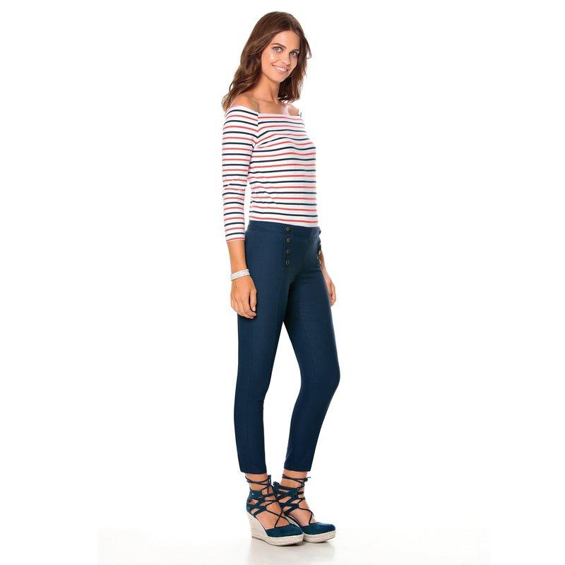 Pantalón largo mujer tiro medio elástico - Azul