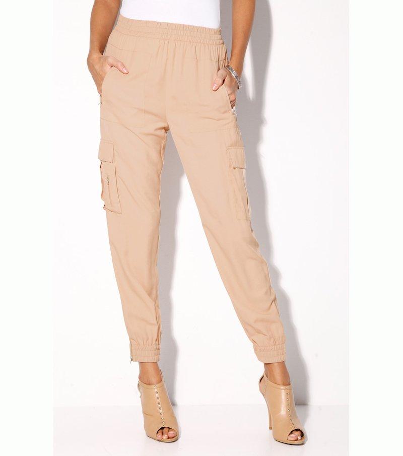 Pantalón largo mujer cintura y bajo elásticos