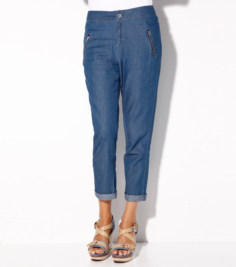 Pantalón largo mujer denim 100% algodón