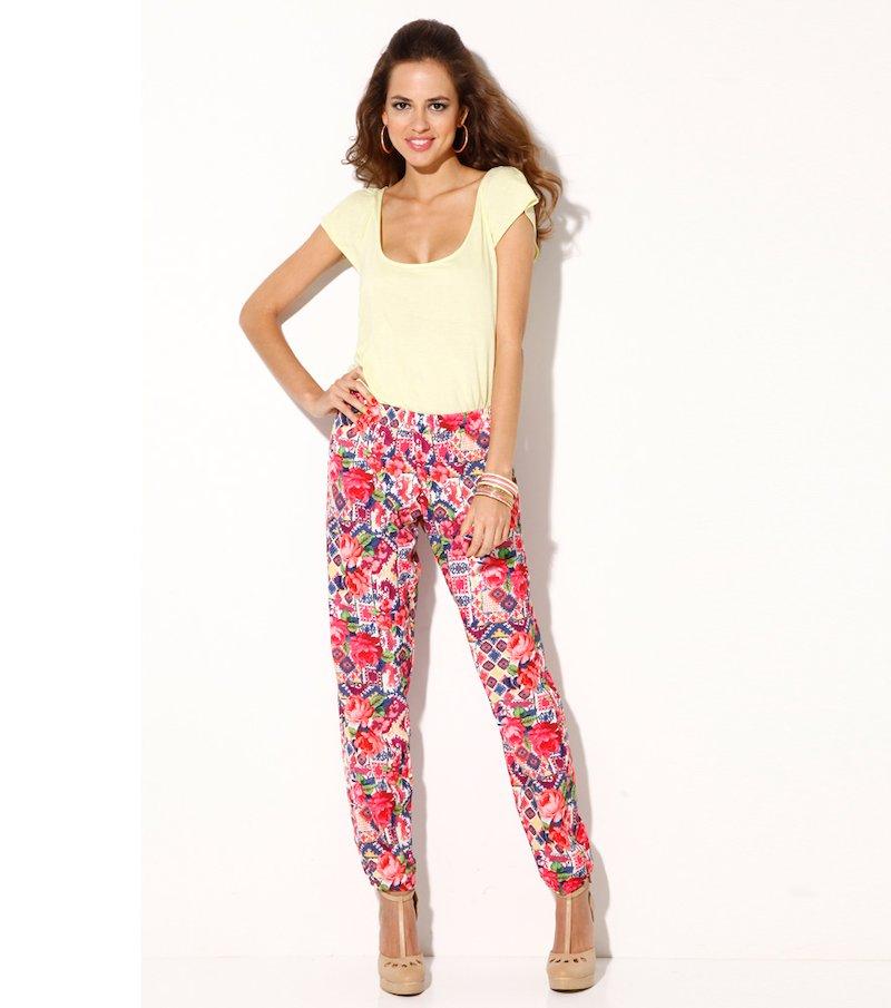 Pantalón largo mujer floral puños en el bajo - Rosa