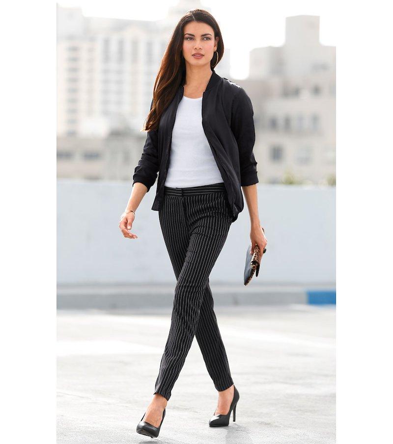 Pantalón vestir mujer tiro alto rayas sastre