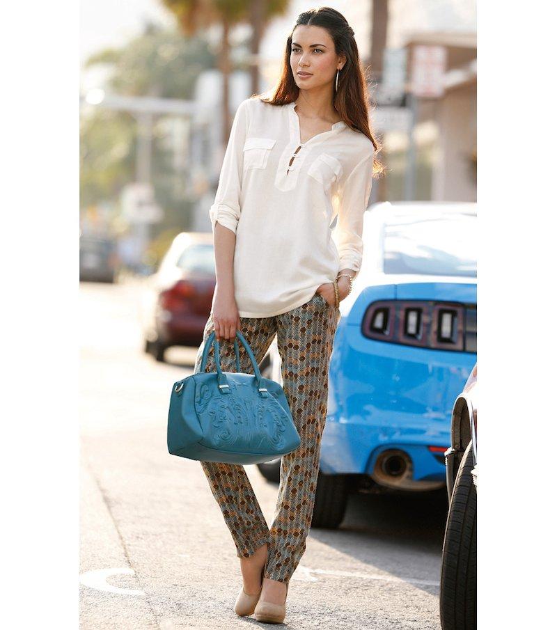 Pantalón largo mujer de suave tejido estampado - Marrón