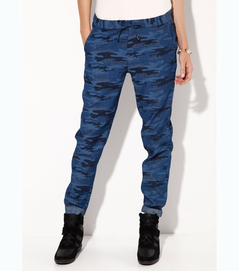 Pantalón mujer estampado camuflaje - Azul