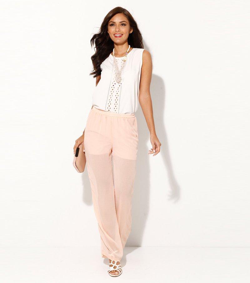 Pantalón largo mujer con short de punto interior