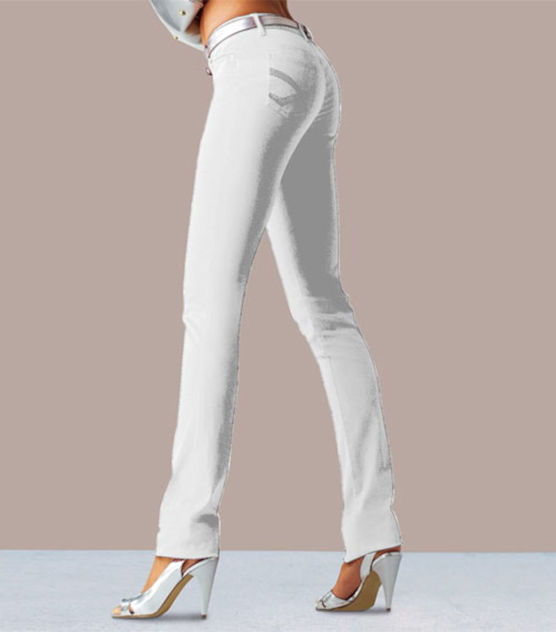 Pantalón pitillo slim mujer - Blanco