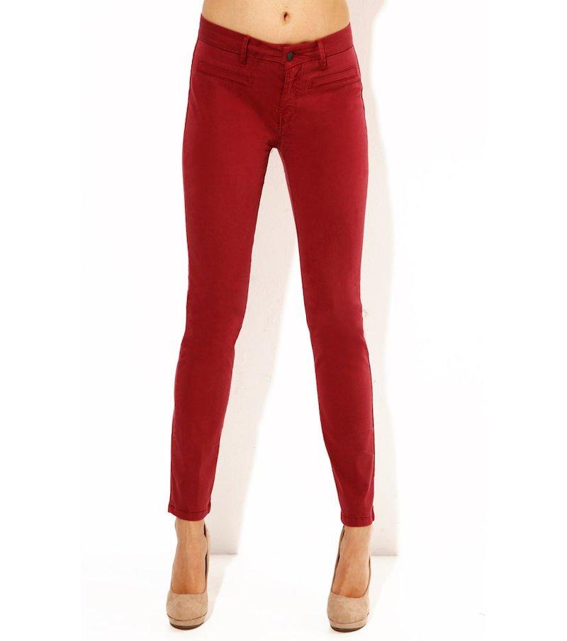 Pantalón elástico largo para mujer granate