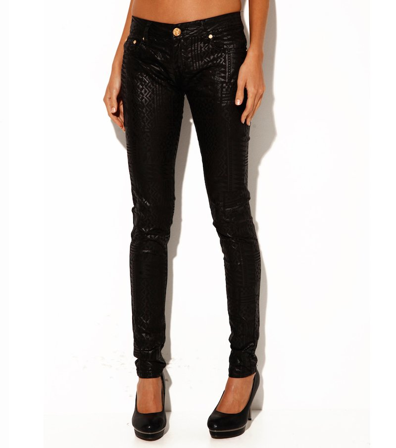 Pantalón largo mujer acabado brillante negro