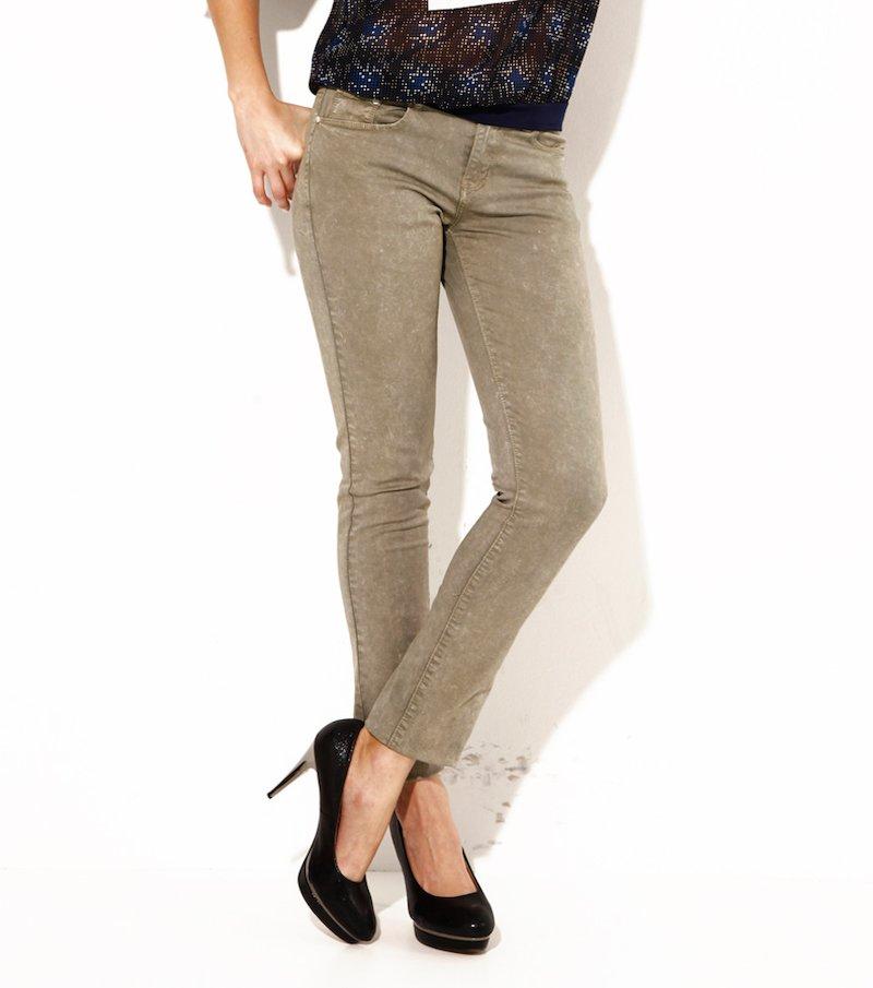 Pantalón largo mujer elástico efecto usado verde