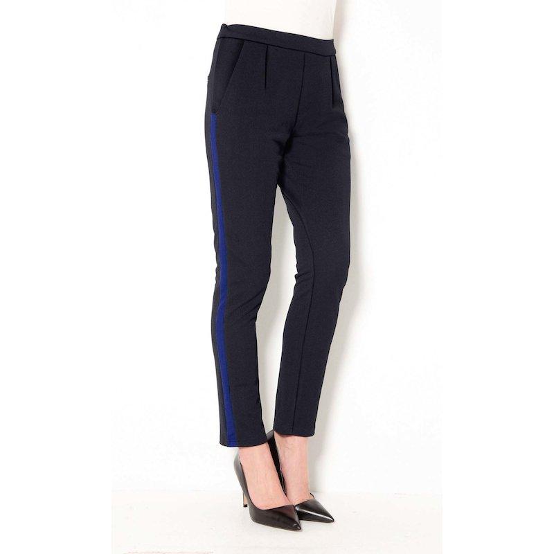 Pantalón largo mujer pinzas con banda lateral