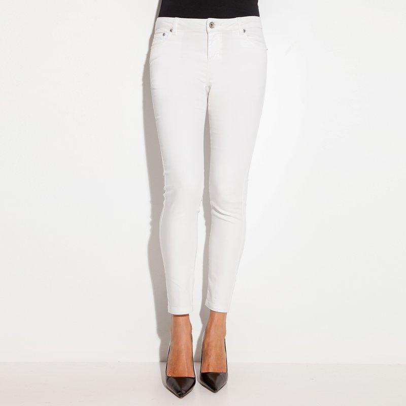 Pantalón largo mujer elástico clásico - Blanco