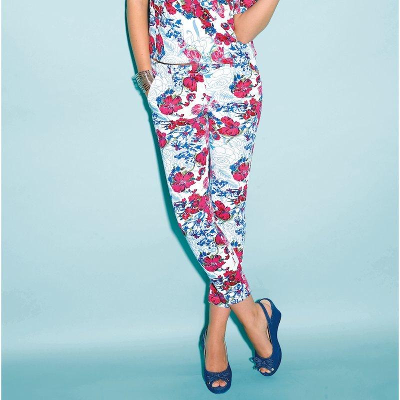 Pantalón mujer flores punto neopreno elástico