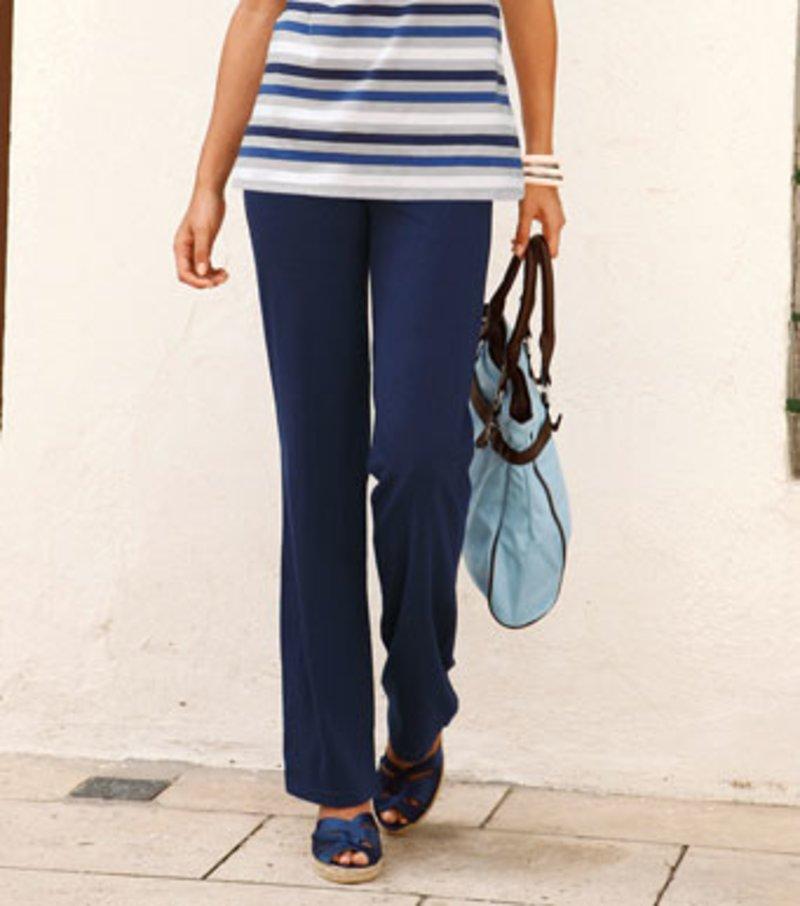 Pantalón largo mujer de punto de tiro alto - Azul